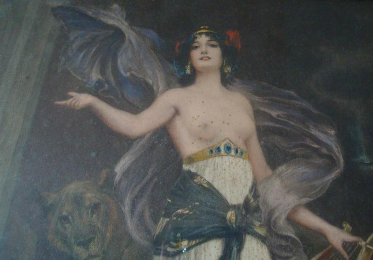 Late 19th Century Art Nouveau Woman Amongst Lions Print