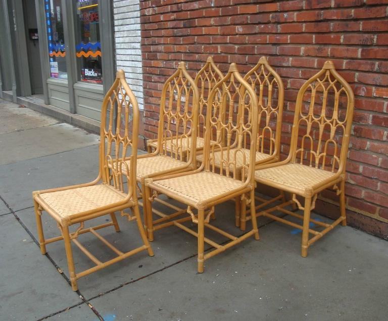 Hollywood Regency 1960s Mcguire Rattan Bamboo Dining Chairs Set Of Six For