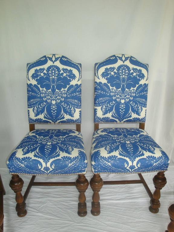 1920s dining chairs with blue and white stroheim damask