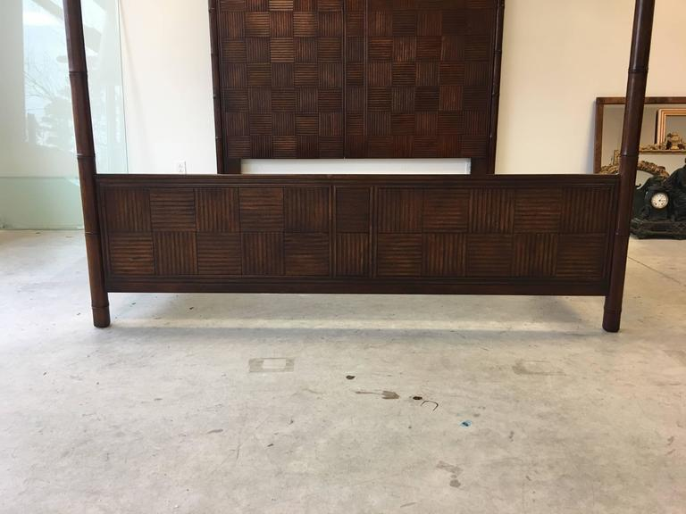 1970s Henredon Faux Bamboo Campaign Style Canopy Bed For
