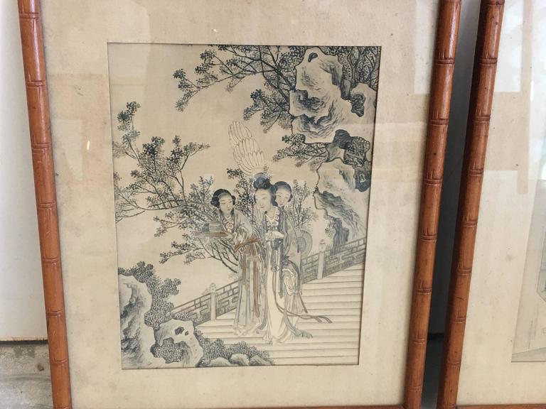 1930s Asian Women In Ornate Scenery Prints With Faux
