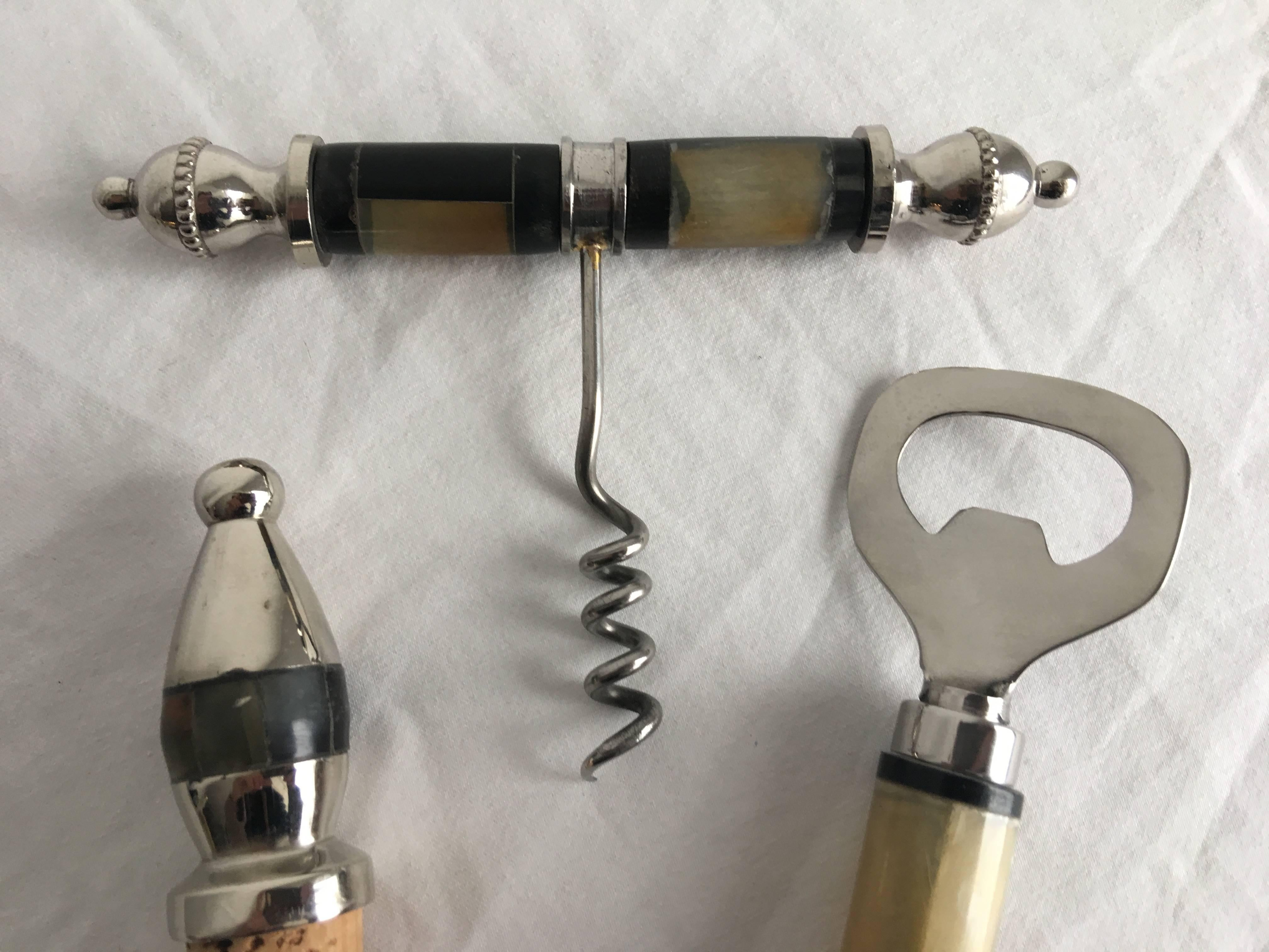 1980s Silver and Bone Bar Tool Set, Set of Three For Sale at 1stdibs