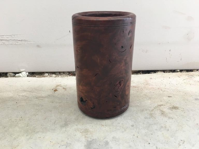 Offered is a stunning, 1920s solid burl wood pen cup or pencil holder.
