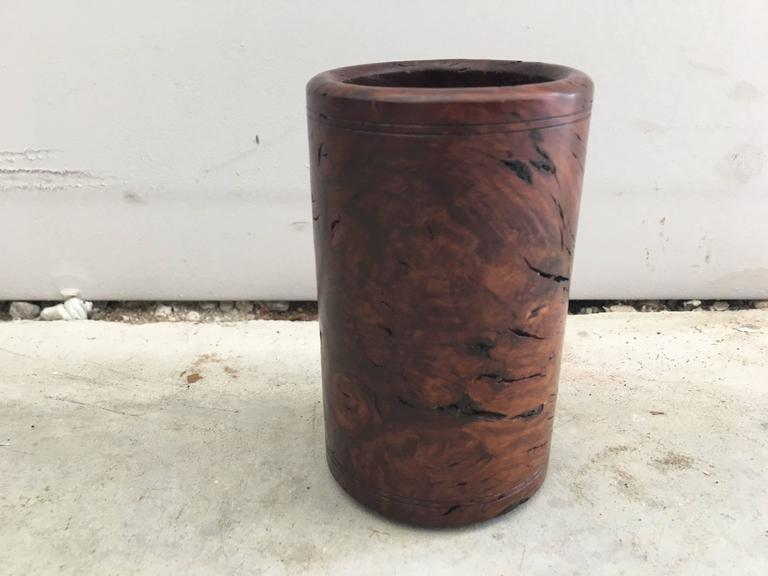 1920s Burl Wood Pen Cup or Pencil Holder 3