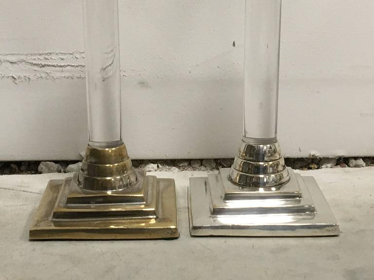 Mid-Century Modern 1960s Silver and Lucite Candlesticks, Pair For Sale