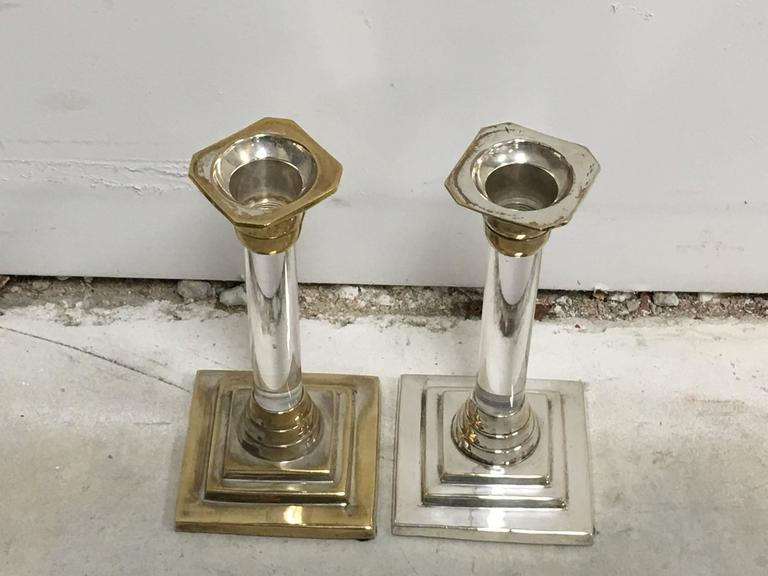1960s Silver and Lucite Candlesticks, Pair In Excellent Condition For Sale In Richmond, VA