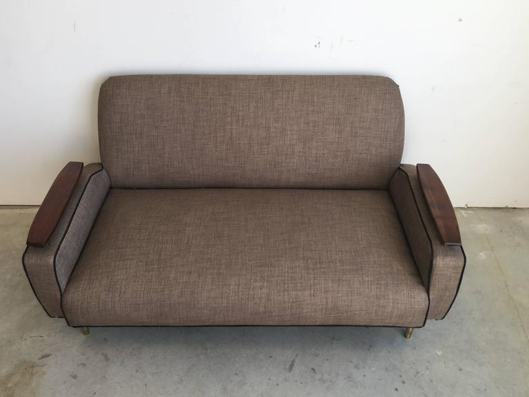 1940s Modern French Deco Floating Arm Sofa with Walnut and ... - photo#45