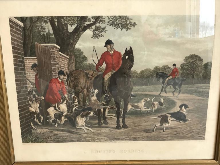 19th Century Equestrian Fox Hunt Engraving, Framed at 1stdibs