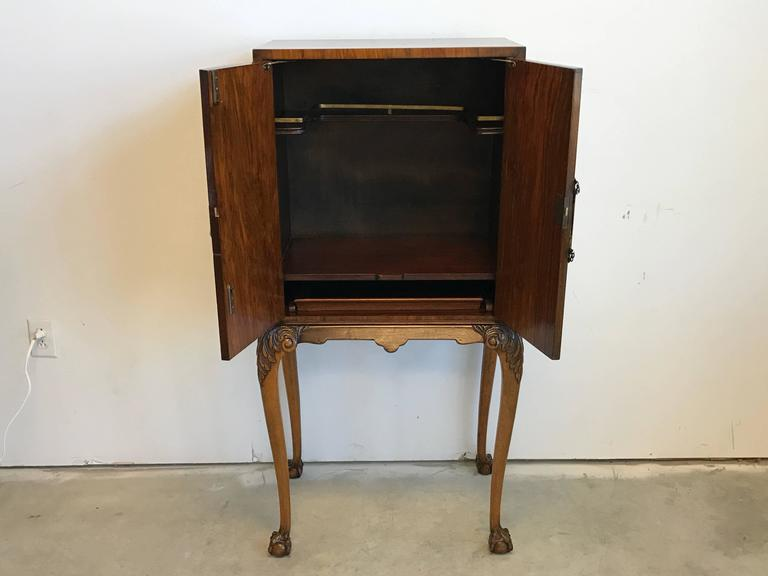 19th Century Maple Burl Wood Bar Cabinet For Sale 3