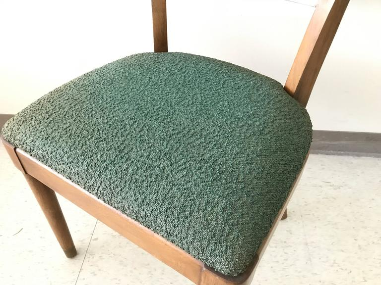 20th Century 1960s Drexel Walnut Dining Chairs With Cane Backing And Green  Fabric, Set Of
