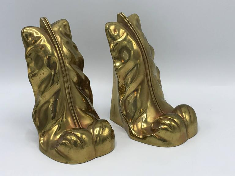 Mid-Century Modern 1950s Brass Acanthus Leaf Scroll Bookends, Pair For Sale