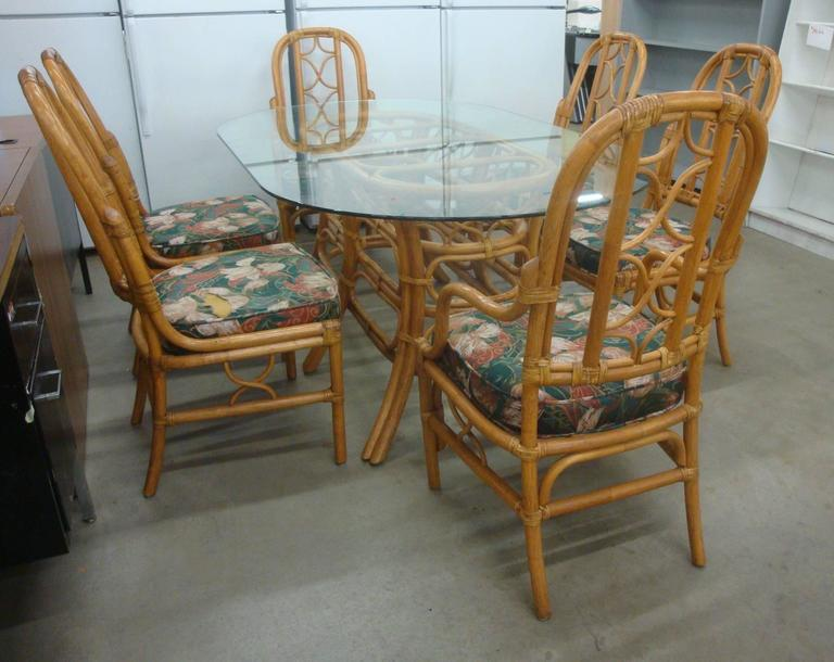 1970s mcguire style rattan dining set six chairs and for 1970 dining room set