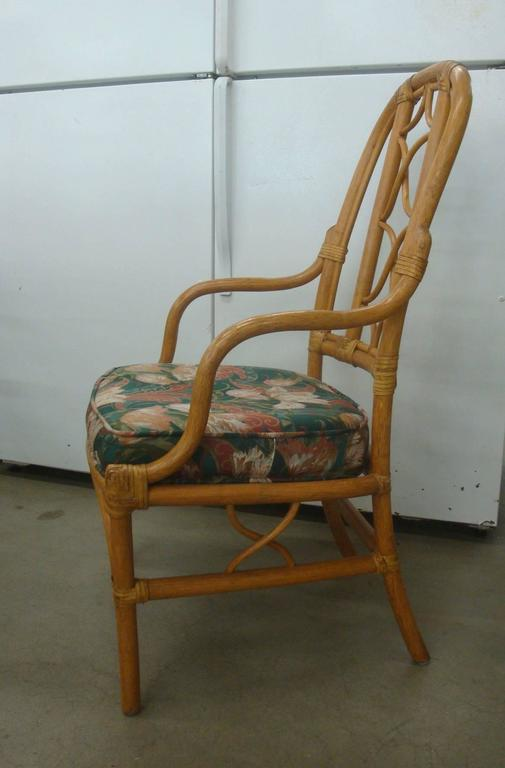 1970s Mcguire Style Rattan Dining Set Six Chairs And