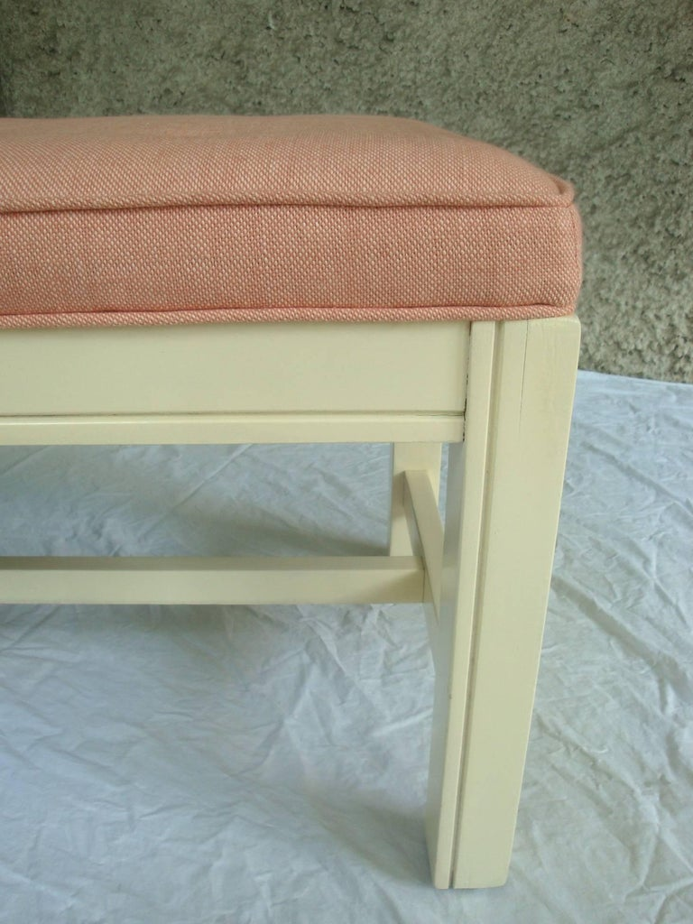 1960s Orange Parson Stool Benches with White Bases, Pair For Sale 3