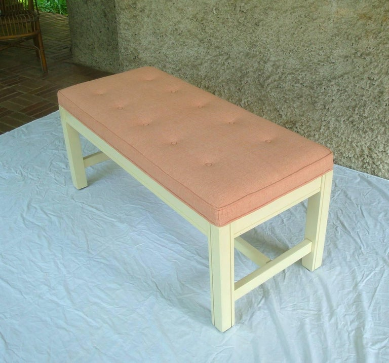 1960s Orange Parson Stool Benches with White Bases, Pair For Sale 2