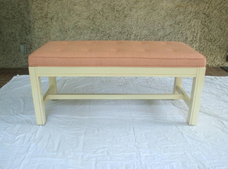20th Century 1960s Orange Parson Stool Benches with White Bases, Pair For Sale