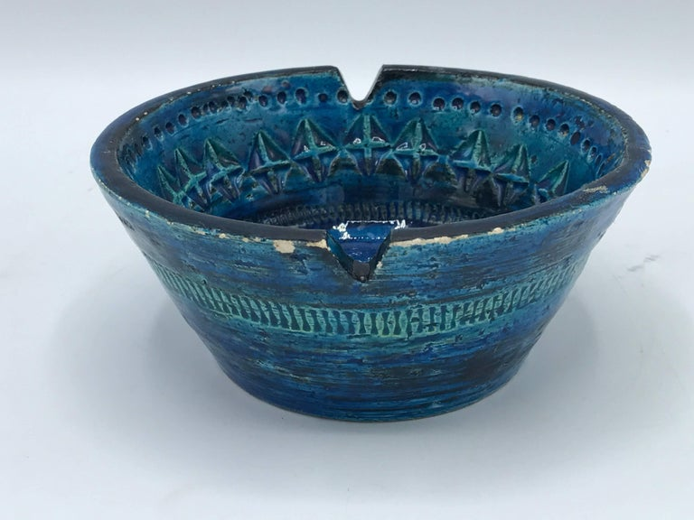 Italian 1960s Aldo Londi for Bittossi Rimini Blue Ashtray Dish For Sale