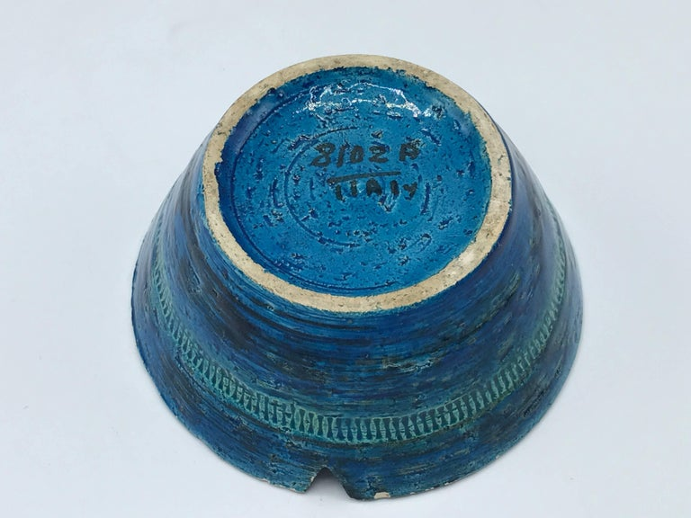 1960s Aldo Londi for Bittossi Rimini Blue Ashtray Dish In Good Condition For Sale In Richmond, VA