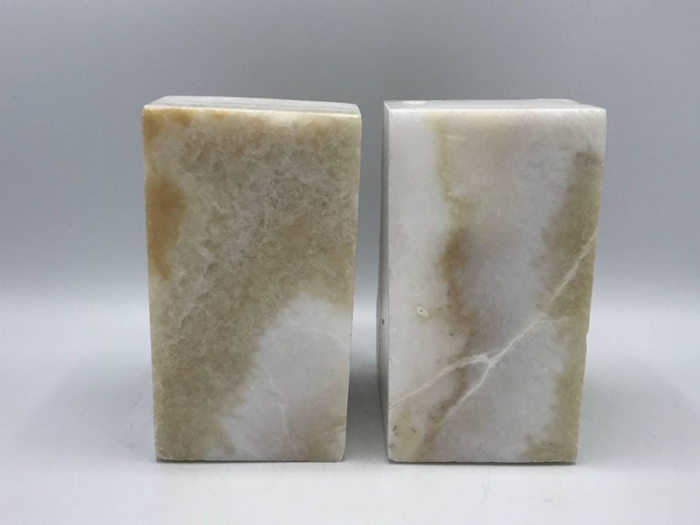 1950s White Stone Bookends, Pair In Excellent Condition For Sale In Richmond, VA