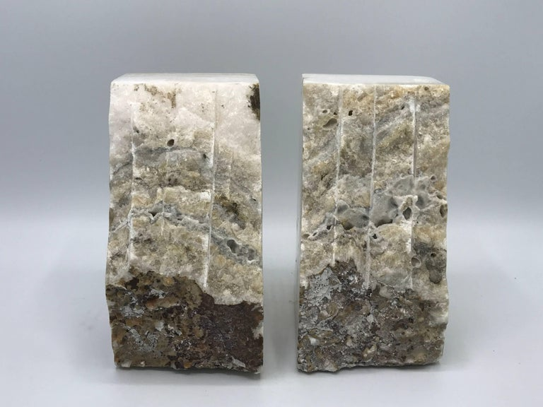 20th Century 1950s White Stone Bookends, Pair For Sale