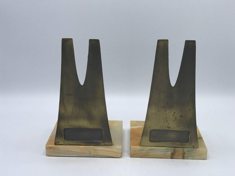 Metal 1970s Pair of W. Macowski Modern Sculptural Bookends For Sale