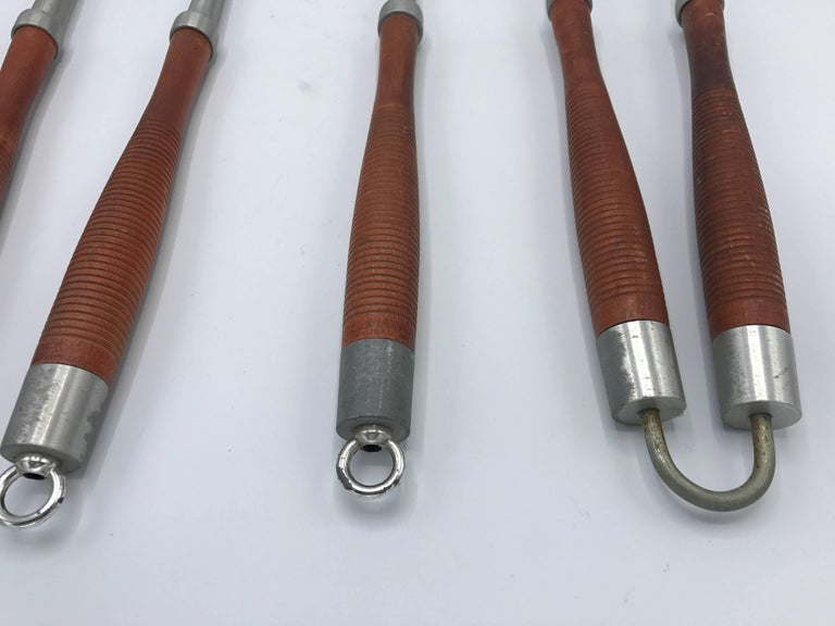 1960s Modern Teak and Aluminum Grill Tools, Set of Five For Sale 2