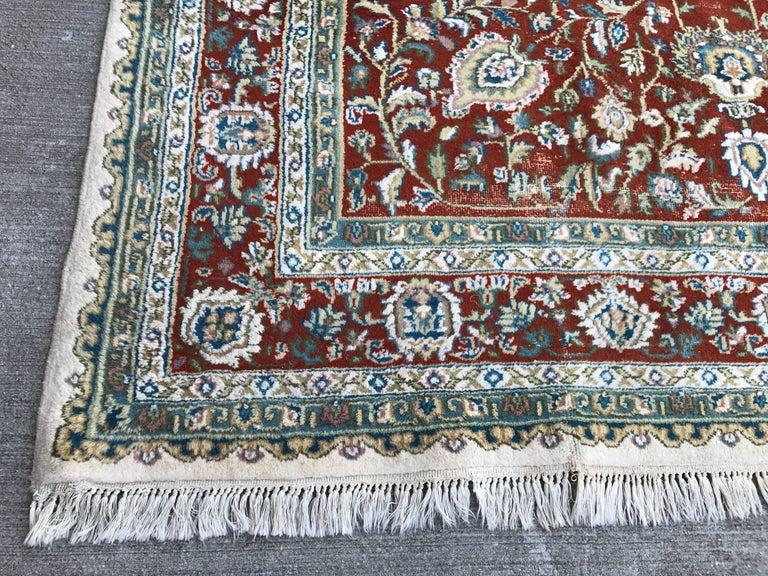 1940s turkish red blue and white rug with fringe for sale at 1stdibs. Black Bedroom Furniture Sets. Home Design Ideas