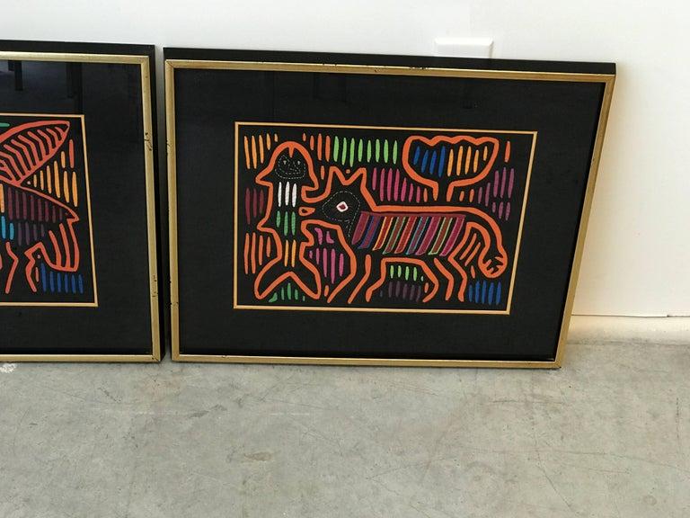 Guatemalan 1970s Guatemala Mola Mixed Textiles Artwork Framed Panels, Pair