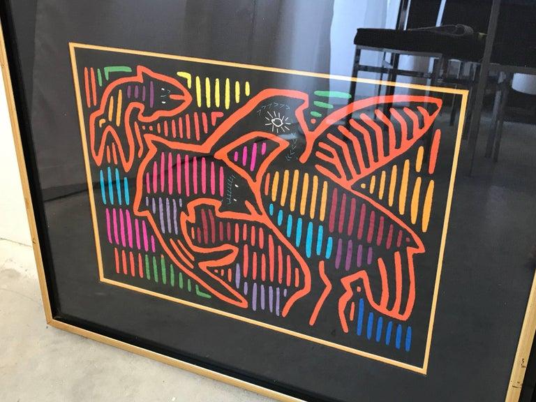 Hand-Crafted 1970s Guatemala Mola Mixed Textiles Artwork Framed Panels, Pair