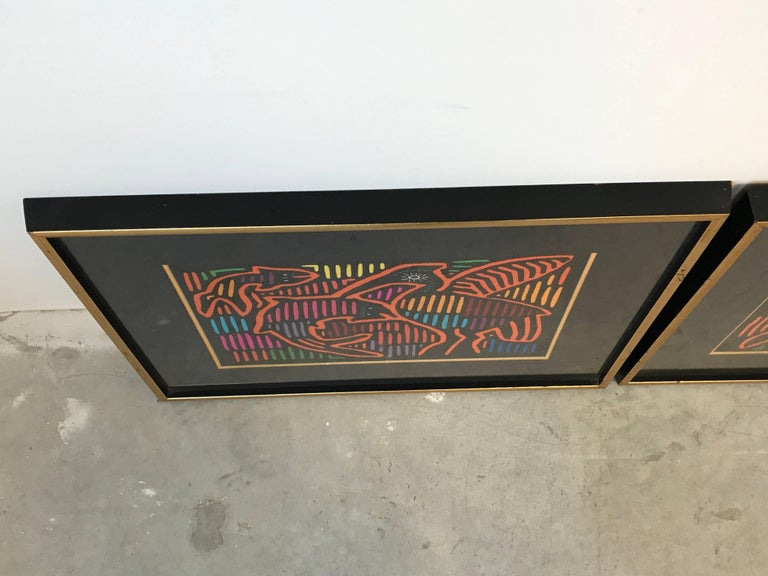 1970s Guatemala Mola Mixed Textiles Artwork Framed Panels, Pair In Excellent Condition In Richmond, VA