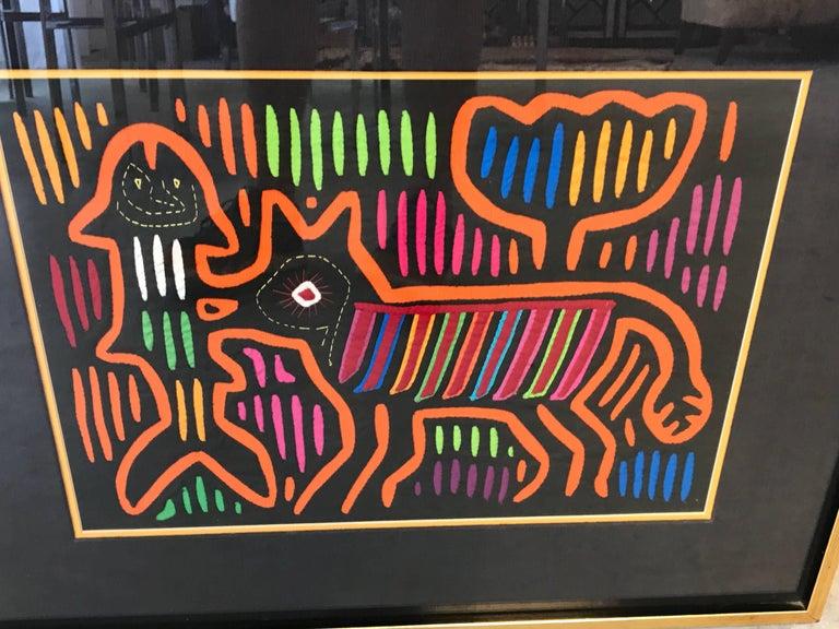 Cotton 1970s Guatemala Mola Mixed Textiles Artwork Framed Panels, Pair