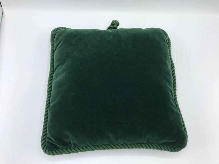 green velvet pillow. 1960s Chinoiserie Needlepoint And Green Velvet Pillow For Sale 1