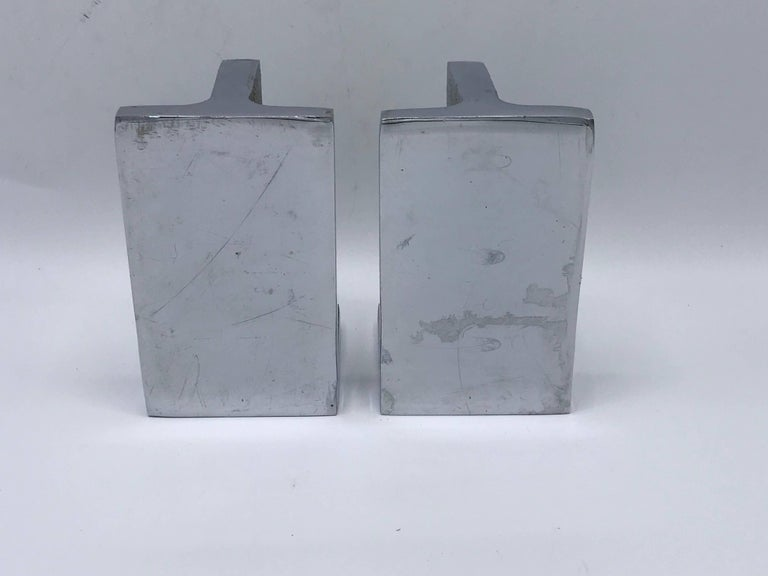 Modern 1970s Bill Curry for Design Line Chrome Handle Bookends, Pair For Sale