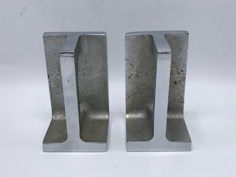 1970s Bill Curry for Design Line Chrome Handle Bookends, Pair In Excellent Condition For Sale In Richmond, VA