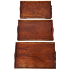 1960s Ming Style Faux Bamboo Rosewood Stacking Trays, Set of Three
