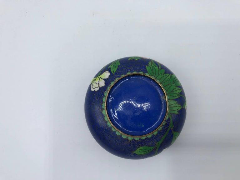 Cloissoné 1960s Blue Cloisonné Ashtray with Brass Lip For Sale
