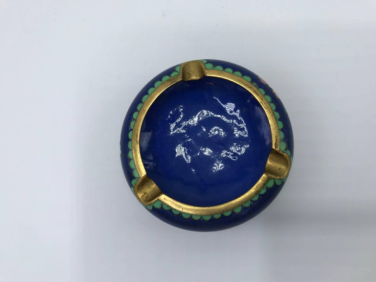 1960s Blue Cloisonné Ashtray with Brass Lip In Excellent Condition For Sale In Richmond, VA