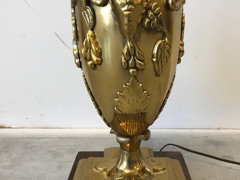 1960s, Italian Brass Bacchus Lamp on Wood Base In Good Condition For Sale In Richmond, VA