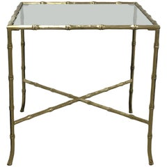 1970s Italian Solid Brass Faux Bamboo Side Cocktail Table