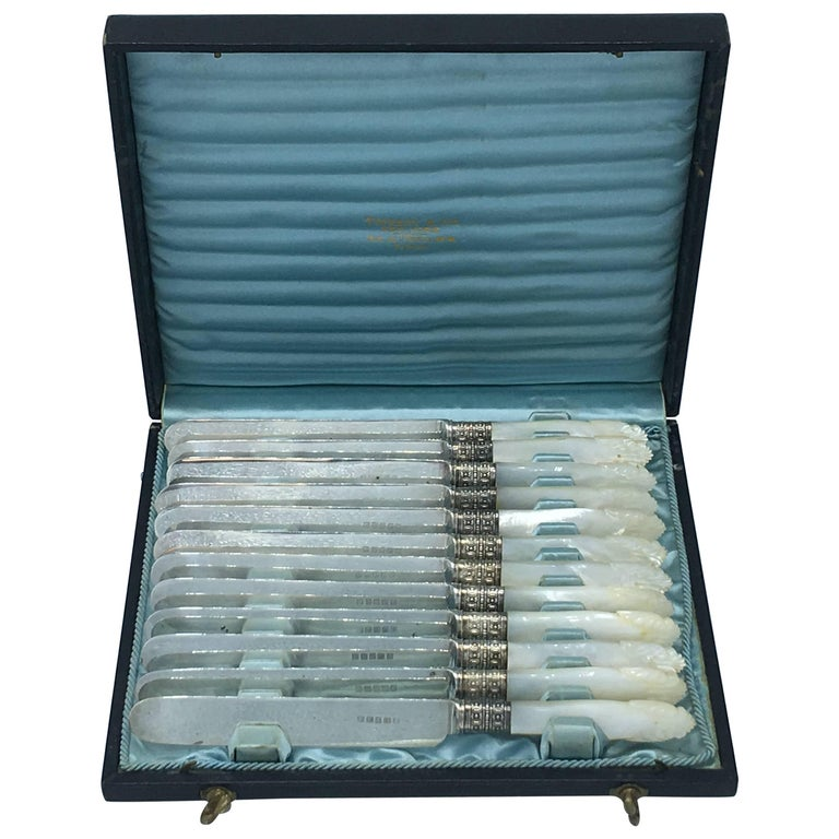 19th Century Tiffany & Co. Sterling Silver and Mother-of-Pearl Knives, Set of 12 For Sale