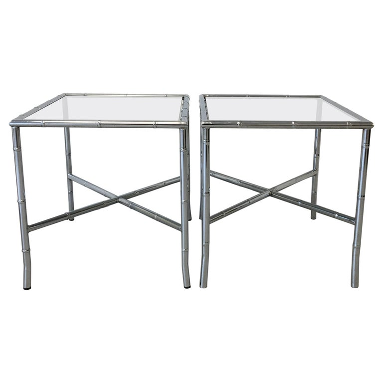 1970s Chrome Faux Bamboo Side Tables with Smoked Glass, Pair