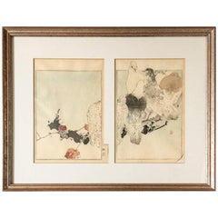 1960s Japanese Pen and Watercolor Painting of Five Pigeons on a Branch