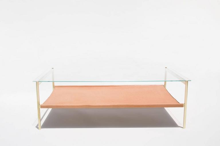 Duotone Rectangular Coffee Table Brass Base/Clear Glass