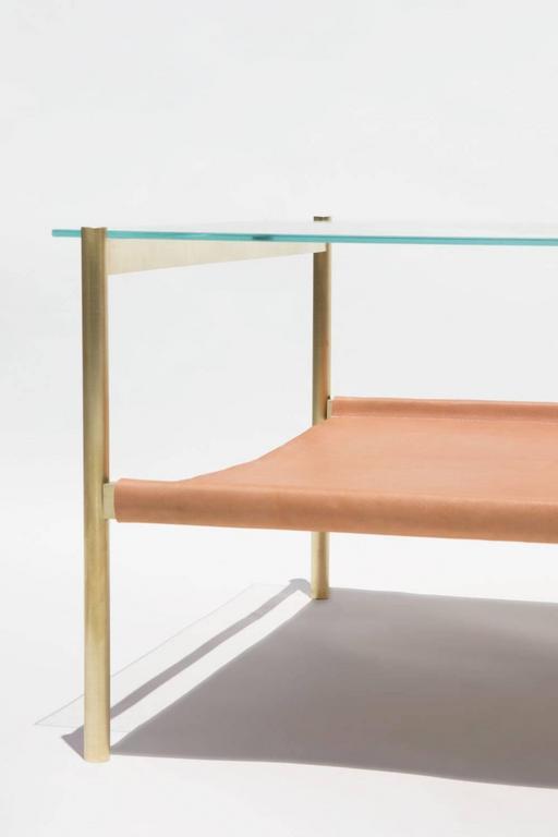 Rectangular Glass Coffee Table: Duotone Rectangular Coffee Table Brass Base/Clear Glass