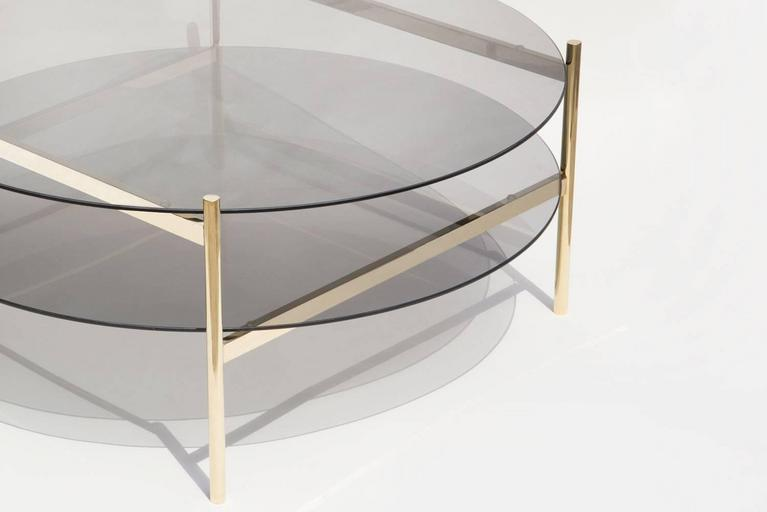 Modern Duotone Circular Coffee Table, Brass Frame / Smoked Glass / Smoked Glass For Sale