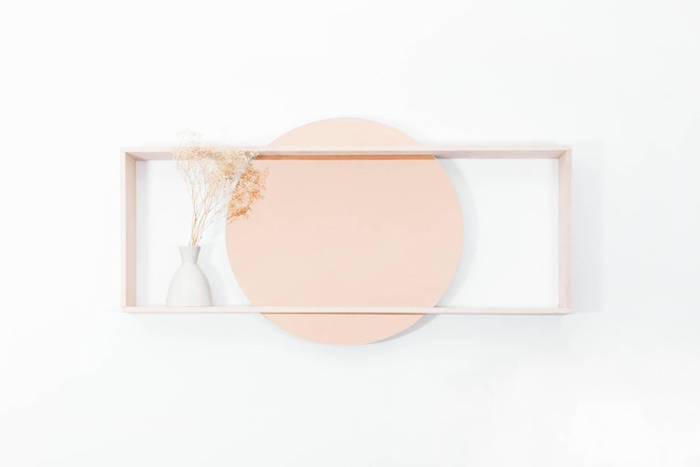 "Made to order. Please allow 6 weeks for production.  The 35"" circular mirror is suspended within a solid oak frame. The day mirror doubles as mirror and shelf to display books, plant life, beauty care, and more. It's a striking, yet understated"