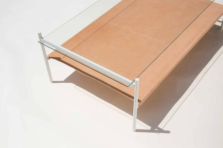 Duotone Rectangular Coffee Table, White Base/Clear Glass