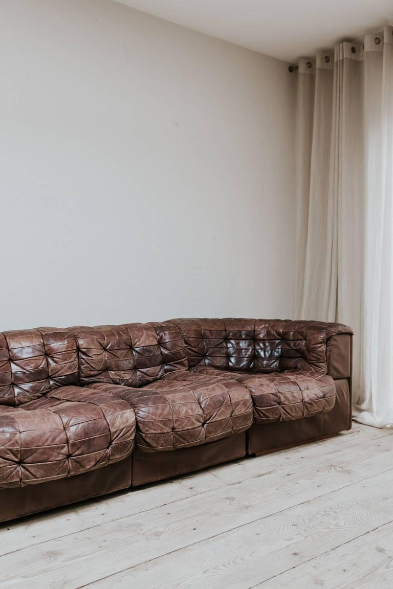 Swiss 20th Century Leather Sectional Sofa by De Sede, Switzerland For Sale