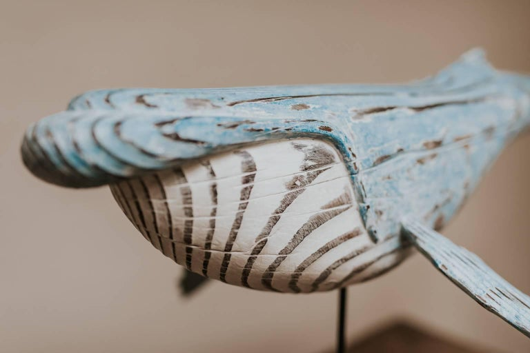 Hand-Painted Wooden Whale Sculpture For Sale