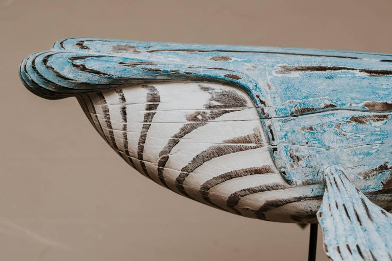 Contemporary Wooden Whale Sculpture For Sale